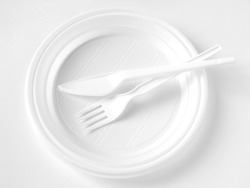white disposable dishware set in black and white