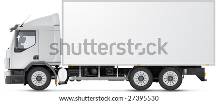 White distribution truck isolated on white (soft realistic shadow). See vector version in my portfolio!