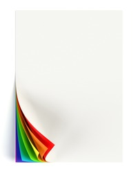White document mock up with rainbow colored curled corner