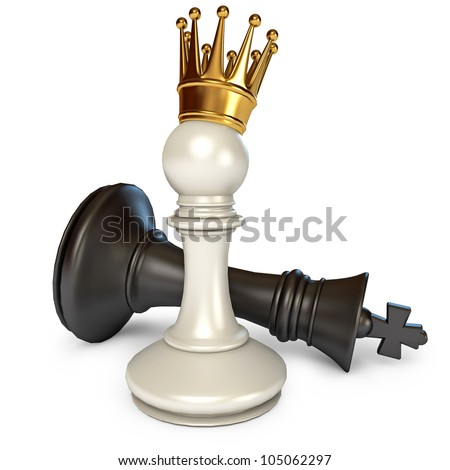 White does the pawn checkmate. Pawn with golden crown. Isolated on white background. 3d render
