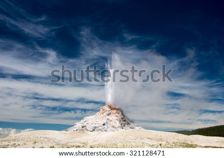 White Dome Geyser erupts in Yellowstone Park