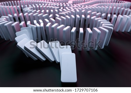 White Domino Pieces Pushing the Domino Effect. Concept Starting or Triggering Process and Dependence From Each Other. Chain Reaction. 3d Rendering Сток-фото ©