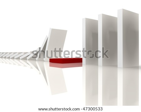 White dominos stopping at the red - 3d image - stock photo