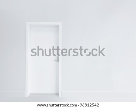 White door and blank wall