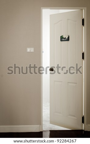 White door is slightly open