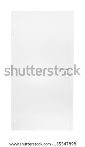 white door isolated on black background