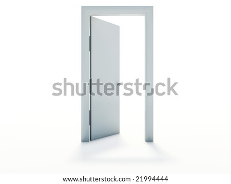 White door isolated on white