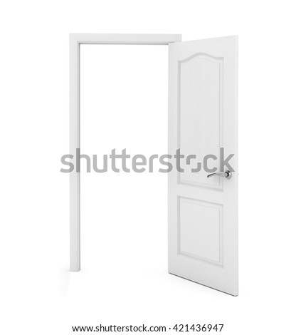white door on white background. 3D rendering