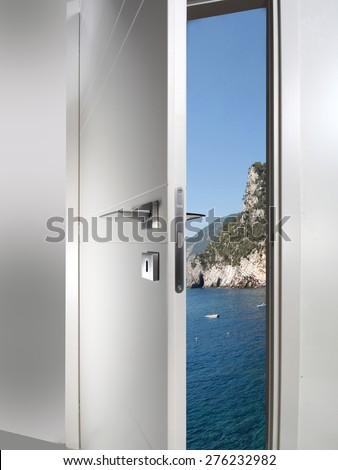 white door open to the sea coast sunset #276232982