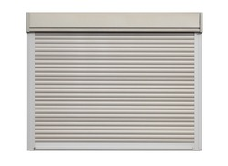 White door roller shutter isolated on white background
