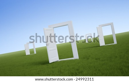 White doors in a field of grass - stock photo