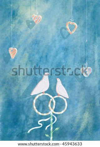 stock photo White dove sitting on wedding rings decorating with purple