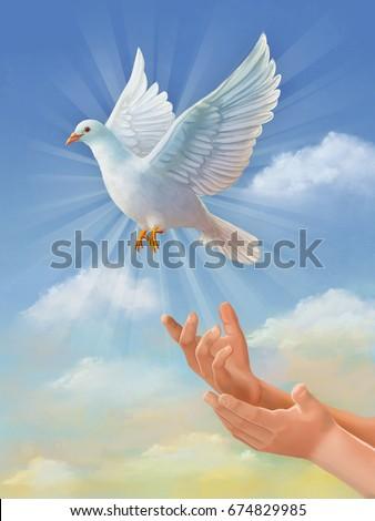 White Dove Symbol Of Peace Flying Through The Sky Original