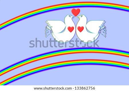 White doves in love in between two rainbows is an art work from my own hand.