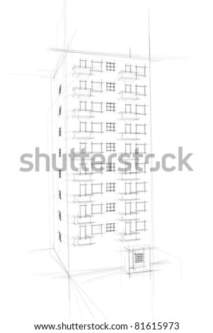 white drawing of tenement house