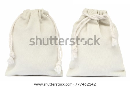 White drawstring bag packaging isolated on white background. Сток-фото ©