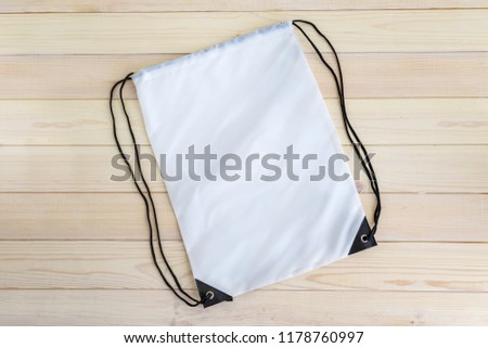White drawstring pack template, mockup of bag for sport shoes Foto stock ©