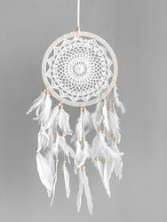 White dreamcatcher at gray background. Interior decoration. Native American Dreamcatcher