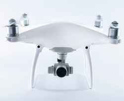 White drone isolated on a white background.