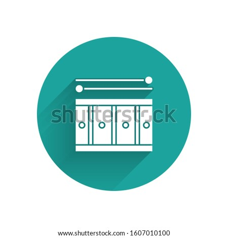 White Drum with drum sticks icon isolated with long shadow. Music sign. Musical instrument symbol. Green circle button.
