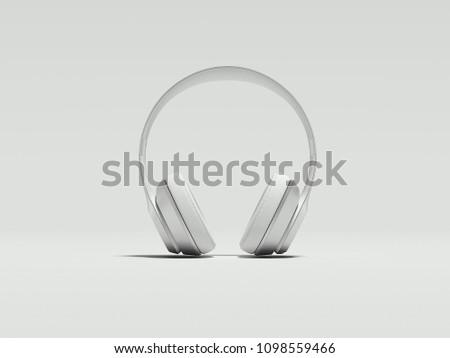 White earphones on light background, 3d renderinf