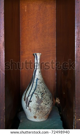 White earthenware in wooden box still-life style