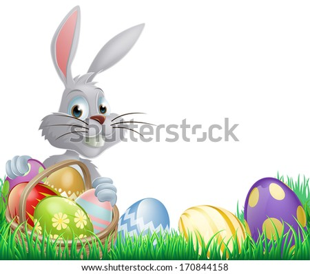 White Easter eggs bunny peeking over a basket of chocolate Easter eggs