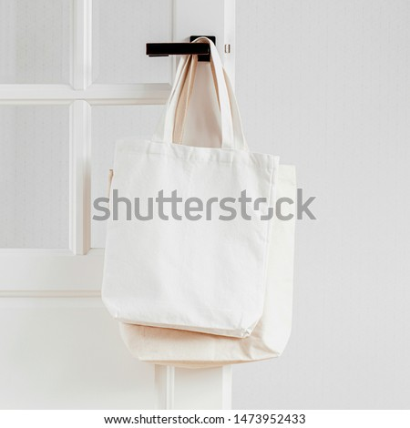 White eco bag mockup. Blank Shopping sack with copy space. Canvas tote bag. Eco friendly / Zero waste concept.