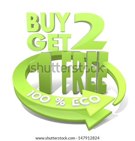 White  eco ecology 3d graphic with environmental buy two get one free icon  a 100 percent eco