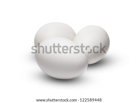 White Egg Group Isolated on White Background