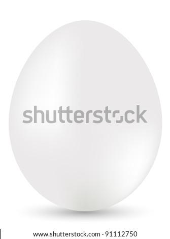 White egg on white background. Illustration - stock photo