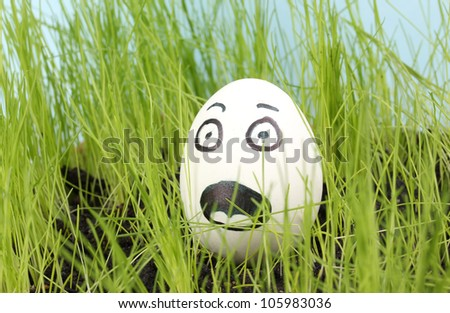 White egg with funny face in green grass