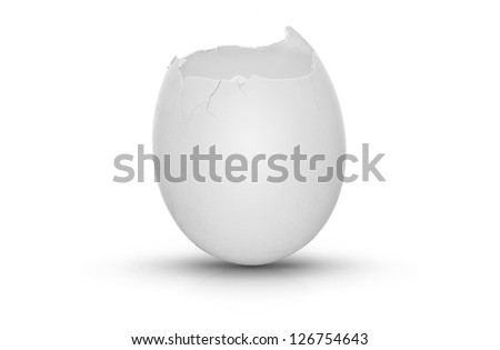 White egg with the top cracked open, very clean on white background with shadow