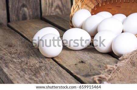White eggs from the basket
