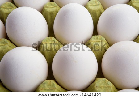 White eggs in a box. Food concept work.