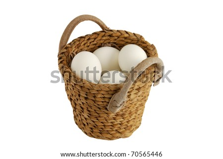 White eggs in interwoven basket as concept of concentration risk #70565446