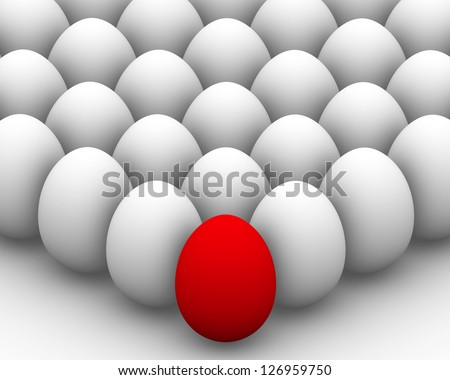 White eggs with one red egg in front, 3d render