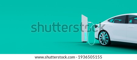 White electric car connected to power station charger on green background 3D Rendering, 3D Illustration