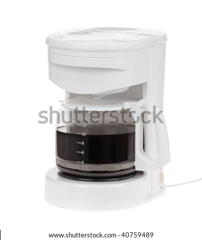 White electric coffeemaker with coffee in the pot isolated on white