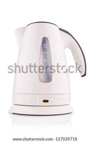 White electric kettle isolated