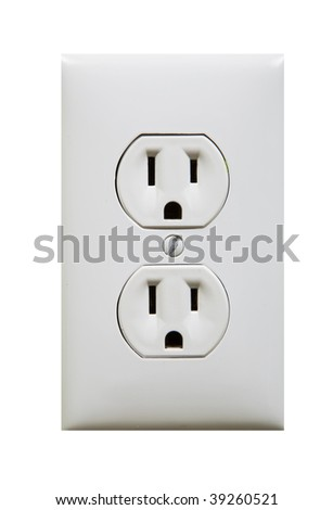 white electric outlet isolated against white background