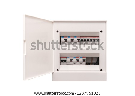 White electrical box with interrupters. Isolated