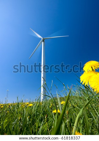 White electricity windmill under clear blue sky
