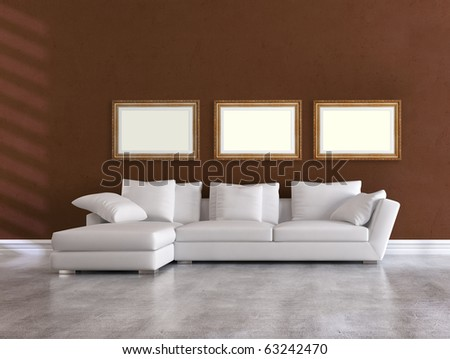 white elegant couch in a minimalist brown living room - rendering