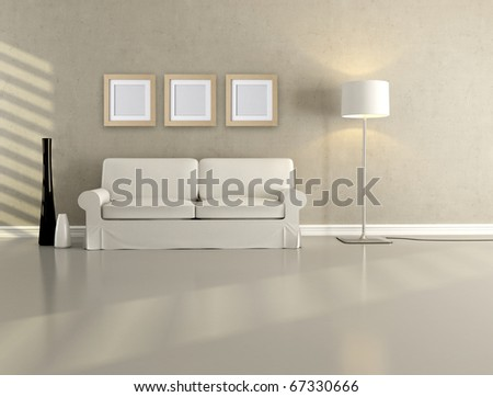white elegant couch in a minimalist lounge - rendering