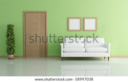 white elegant sofa in a green interior - rendering - stock photo