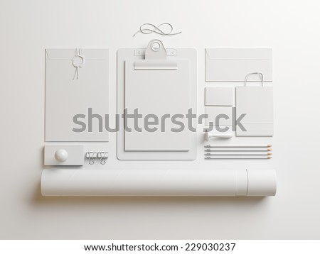 white elements on white paper background