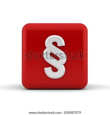 White embossed and bevelled paragraph symbol on a 3d render red cube