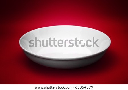 White empty ceramic plate, close up photo