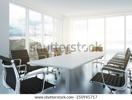 White empty conference room. 3d rendering